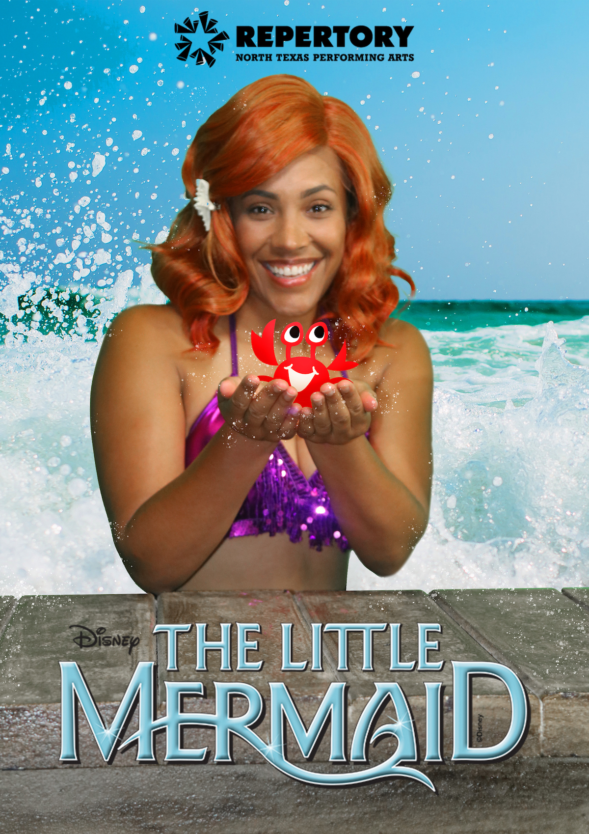 NTPA Repertory present The Little Mermaid - actress playing ariel holds a cartoon crab